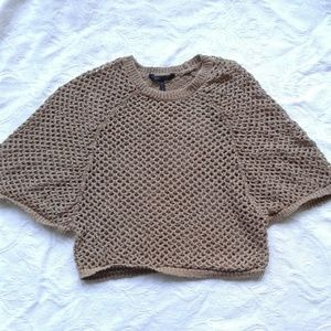 BCBGMaxAzria Poncho Crochet Knit Crew Neck Small